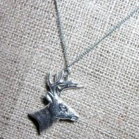 2D Stag silver necklace