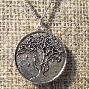 30mm antique silver autumn tree pendant on chain reverse