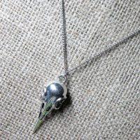 3D bird skull silver necklace