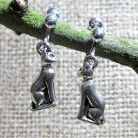 3D sitting cat silver clip on earrings