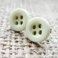 8mm button hypoallergenic studs apple white angled