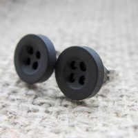 8mm button hypoallergenic studs black angled