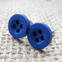 8mm button hypoallergenic studs blue angled