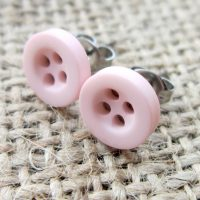 8mm button hypoallergenic studs pale baby pink angled