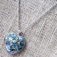 Abalone shell mosaic heart silver necklace