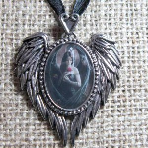 Anne Stokes Angel Rose cameo necklace EC15 pendant