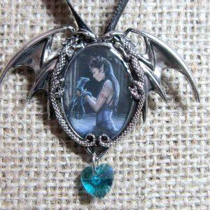 Anne Stokes Water Dragon cameo necklace EC1 pendant
