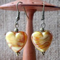 Autumn gold swirl heart bronze earrings display