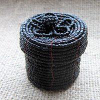 Black beaded round box full