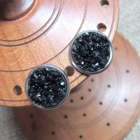 Black druzy 12mm silver studs display