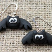 Black flying bat earrings