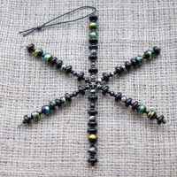 Black glass beaded snowflake ornament