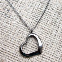 Black open heart necklace straight