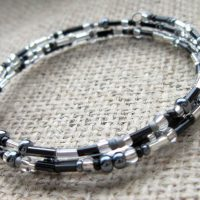 Black & silver beaded memory wire bracelet