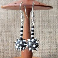 Black & white rubber mace Sterling silver dangle earrings front