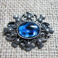 Blue Abalone Scottish thistle brooch