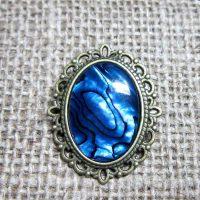 Blue Abalone bronze brooch