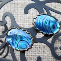 blue-abalone-shell-oval-bronze-cufflinks-display