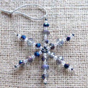Blue and clear crystal beaded snowflake ornament 01