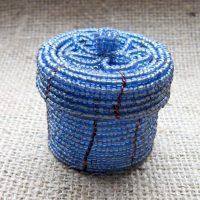 Blue beaded round box full