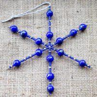 Blue ceramic beaded snowflake ornament