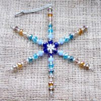 Blue & gold ombre crystal beaded snowflake ornament front