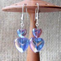 Blue lustre hearts Sterling silver dangle earrings front
