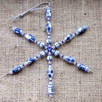 Blue & white ceramic beaded snowflake ornament