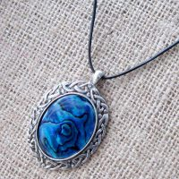 Celtic Blue Abalone Shell leather cord necklace
