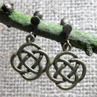 Celtic eternal knot bronze clip on earrings