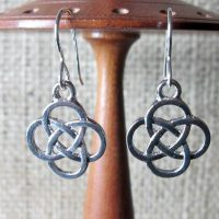 Celtic knot silver earrings display