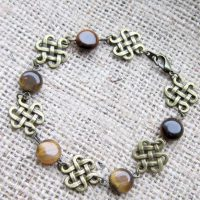 Celtic knotwork Tiger's Eye bronze bracelet above