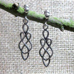 Celtic knotwork goddess silver clip on earrings