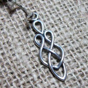 Celtic knotwork goddess silver clip on earrings charm