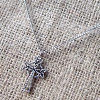 Celtic knotwork triple triquetra cross silver necklace