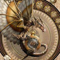 Clockwork Dragon Anne Stokes birthday card AN53
