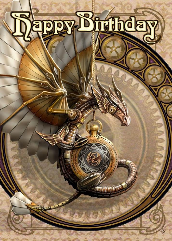 Clockwork Dragon Steampunk Birthday Card by Anne Stokes – Steampunk Birthday Card
