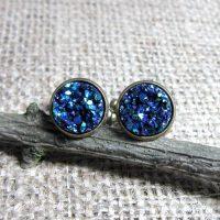 Cobalt blue 14mm round bronze cufflinks display