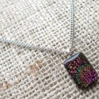 Dichroic glass silver necklace blue yellow pink swirls angle