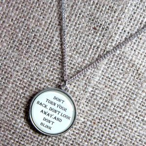 Dont Blink Doctor Who quotation silver necklace