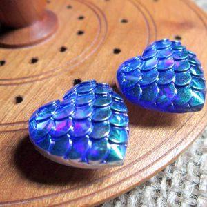 Dragon scale heart steel studs metallic blue