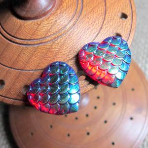 Dragon scale heart steel studs metallic blue red display
