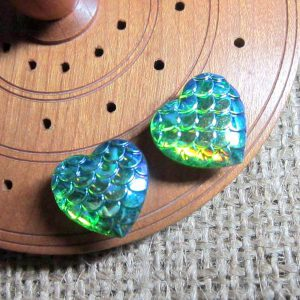 Dragon scale heart steel studs metallic lime green top