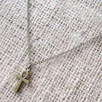 Egyptian ankh bronze necklace