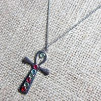 Egyptian ankh with crystals silver necklace