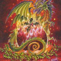 Flaming Dragon Pudding Briar Yule card BY16