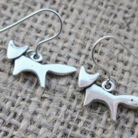 Fox silver earrings angle