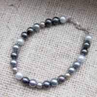 Grey Swarovski glass pearl bracelet