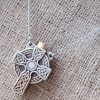 High fired Celtic cross bottle stainless steel necklace