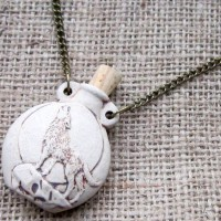 High fired howling wolf bottle necklace angled